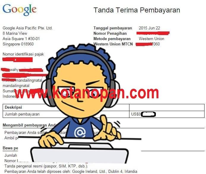Menerima Pembayaran Pertama Saya Dari Google Adsense