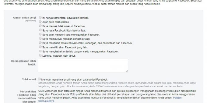 Cara Menghapus dan Menutup Akun facebook Permanen