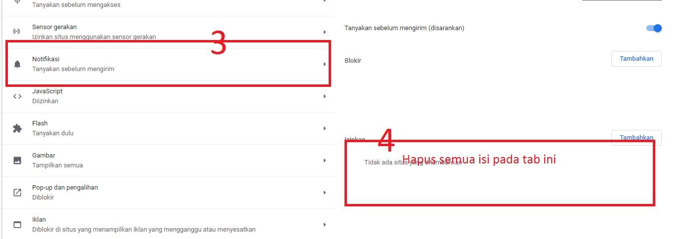 Hilangkan iklan notifikasi pada Google chrome.