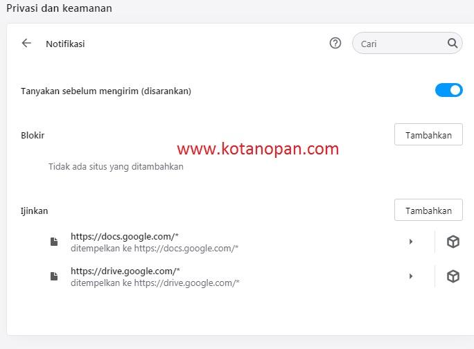 2. Cara hilangkan iklan Notifikasi pada Browser Opera.