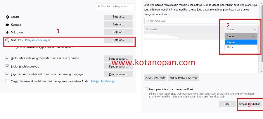 Cara Blokir Iklan notifikasi padaBrowser Mozilla Firefox.