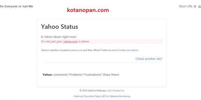 Siang iniSitus Dan Layanan E-Mail Yahoo Down tidak bisa dibuka, penyebab situs Yahoo Down