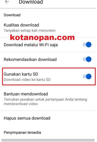 pindah penyimpanan download youtube ke kartu SD saja agar setiap video yang di download tersimpan di kartu SD